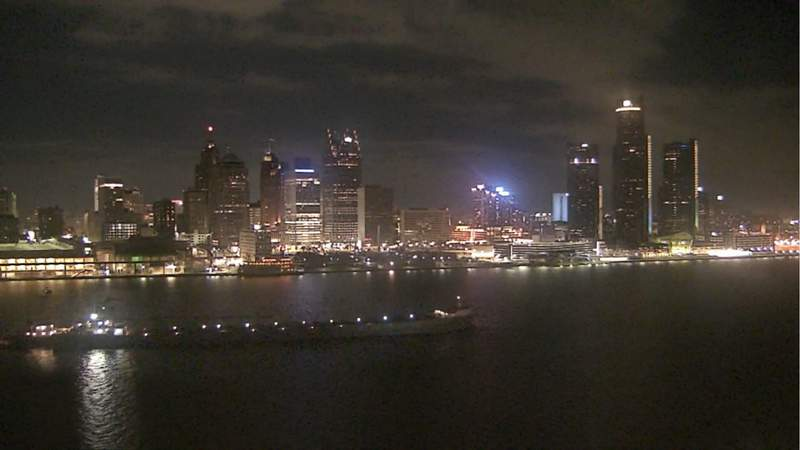 View of Detroit from the Windsor sky camera on Dec. 15, 2019 at 8:07 p.m.