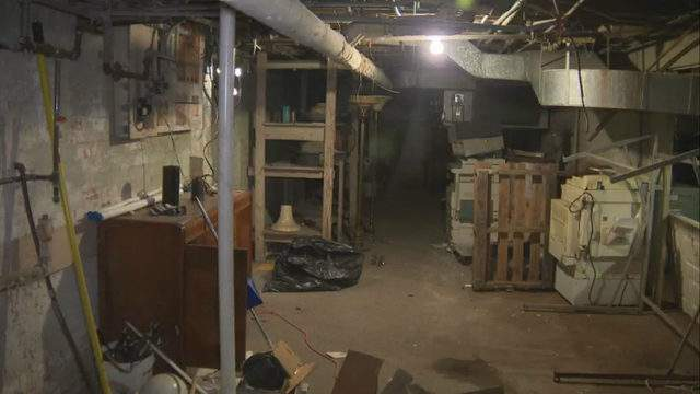 The basement of the former Cantrell Funeral Home in Detroit (WDIV)