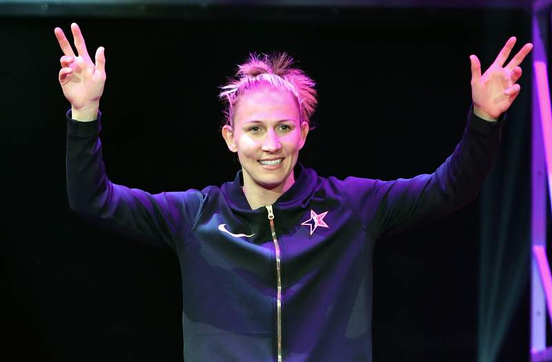 LAS VEGAS, NEVADA - JULY 27:  Courtney Vandersloot #22 of Team Delle Donne is introduced before the WNBA All-Star Game 2019 at the Mandalay Bay Events Center on July 27, 2019 in Las Vegas, Nevada. Team Wilson defeated Team Delle Donne 129-126. NOTE TO USER: User expressly acknowledges and agrees that, by downloading and or using this photograph, User is consenting to the terms and conditions of the Getty Images License Agreement.  (Photo by Ethan Miller/Getty Images)
