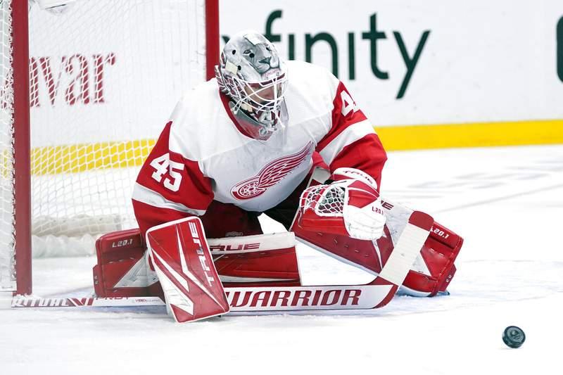 Detroit Red Wings goaltender Jonathan Bernier (45) blocks a shot against the Nashville Predators in the second period of an NHL hockey game Saturday, Feb. 13, 2021, in Nashville, Tenn. (AP Photo/Mark Humphrey)