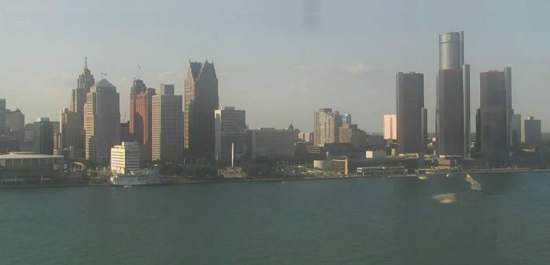 View of Detroit from the Windsor sky camera on Aug. 22, 2020 at 6:21 p.m.