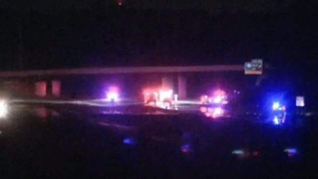 Witnesses reported that two vehicles traveling westbound on M-14 collided with a pedestrian crossing the freeway on foot.(WDIV)