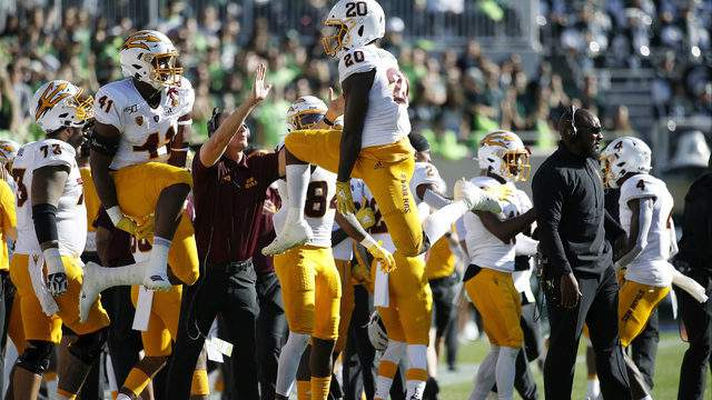 Khaylan Kearse-Thomas #20 and Tyler Johnson #41 of the Arizona State Sun Devils celebrate after a missed field goal by the Michigan State Spartans in the first half of the game at Spartan Stadium on September 14, 2019 in East Lansing, Michigan. (Photo by Joe Robbins/Getty Images)