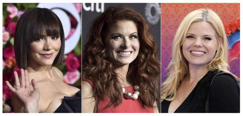 This combination of photos shows, from left, Katharine McPhee, Debra Messing and Megan Hilty, who will reunite May 20 to present a stream of the one-night-only 2015 Broadway concert of the musical within the TV show Smash. In the series, Hilty and McPhee played feuding actresses hoping to play Marilyn Monroe. (AP Photo)