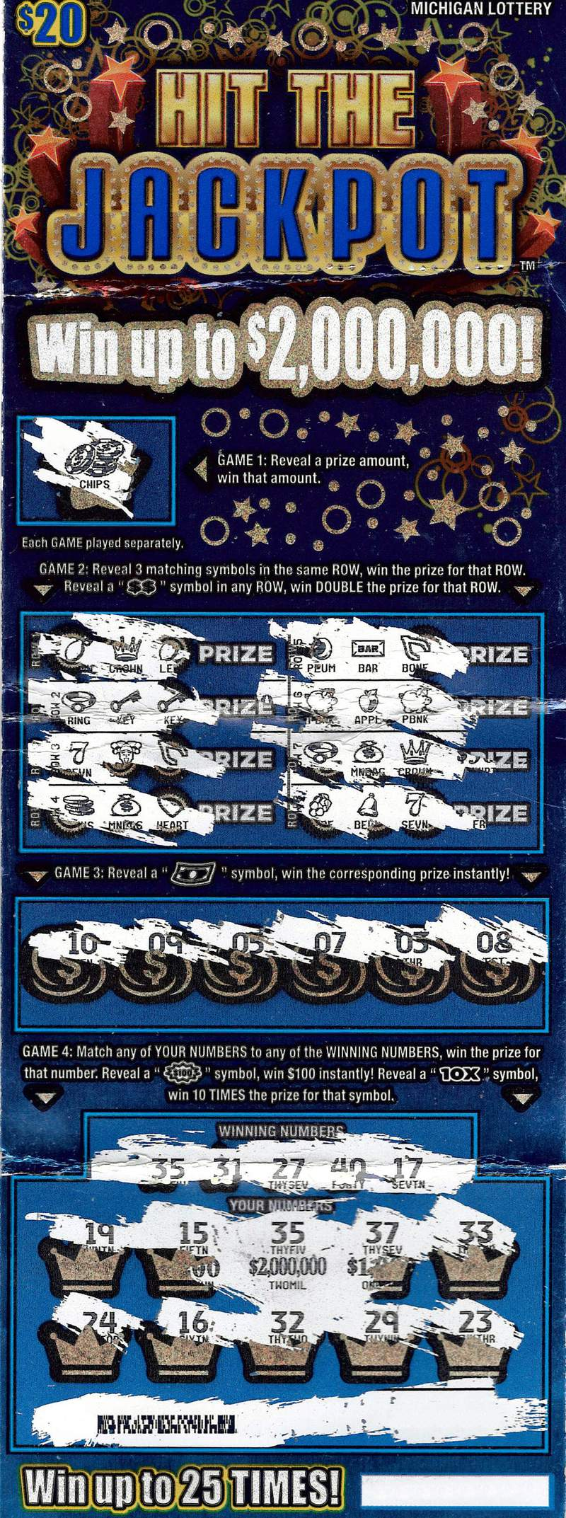 Oakland County Man Wins $2 Million Playing the Michigan Lottery's Hit the Jackpot Instant Game