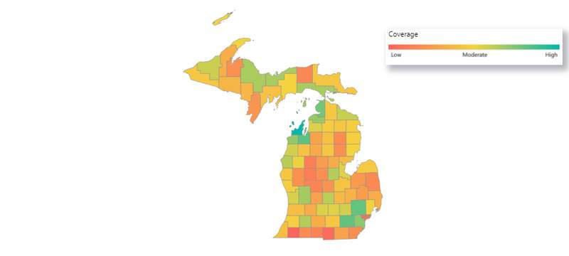 Michigan COVID-19 vaccine coverage map as of July 27, 2021.