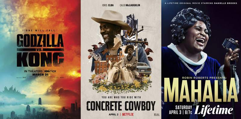 """This combination photo shows poster art for the film """"Godzilla vs Kong,"""" premiering on HBO Max on March 31, left, """"Concrete Cowboy,"""" premiering April 2 on Netflix and """"Robin Roberts Presents: Mahalia,"""" premiering April 3 on Lifetime. (HBO Max/Netflix/Lifetime via AP)"""