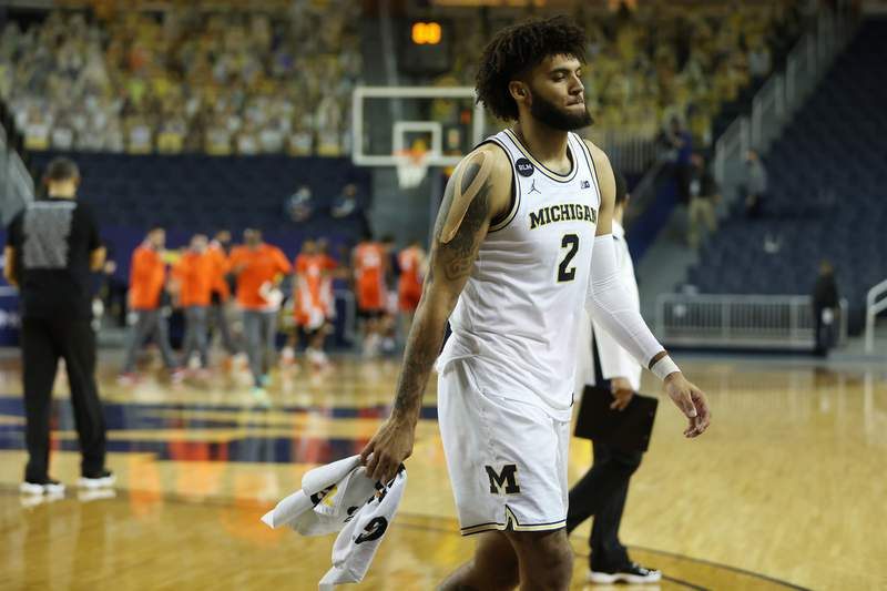 Isaiah Livers #2 of the Michigan Wolverines leaves the floor after a 76-53 loss to the Illinois Fighting Illini at Crisler Arena on March 02, 2021 in Ann Arbor, Michigan.