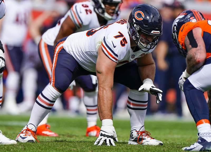 File-This Sept. 15, 2019, file photo shows Chicago Bears offensive guard Kyle Long lining up during an NFL football game between the Denver Broncos and the Chicago Bears in Denver. The offensive line that the Kansas City Chiefs aggressively overhauled this offseason has taken a hit with a knee injury to veteran Long during voluntary workouts that could require surgery and keep him out of training camp. (AP Photo/Jack Dempsey, File)