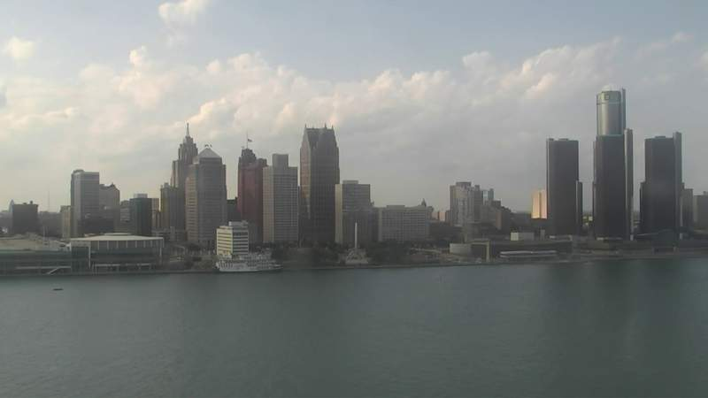 View of Detroit from the Windsor sky camera on May 24, 2020 at 6:38 p.m.