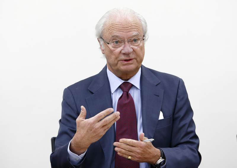 TOKYO, JAPAN - FEBRUARY 18:  King Carl XVI Gustaf of Sweden speaks during a press conference at the National Museum of Emerging Science and Innovation on February 18, 2016 in Tokyo, Japan. King Carl Gustav is visiting Japan with the Royal Technology Mission (RTM), an international delegation with a focus on technology, science and business.  (Photo by Tomohiro Ohsumi/Getty Images)