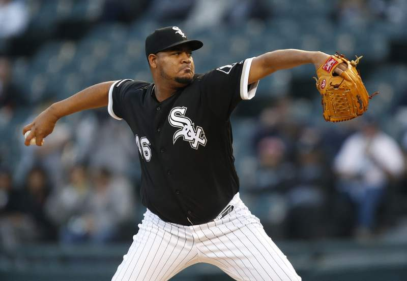 Ivan Nova #46 of the Chicago White Sox  pitches in the first inning during the game against the Detroit Tigers at Guaranteed Rate Field on September 28, 2019 in Chicago, Illinois.