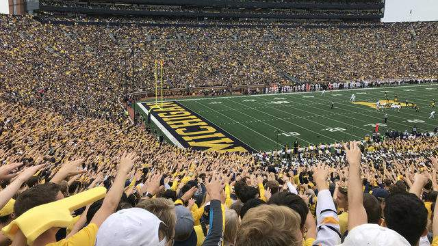 Students cheer on the Wolverines at the first home game of the season on Sept. 8, 2018 (Photo: Meredith Bruckner)