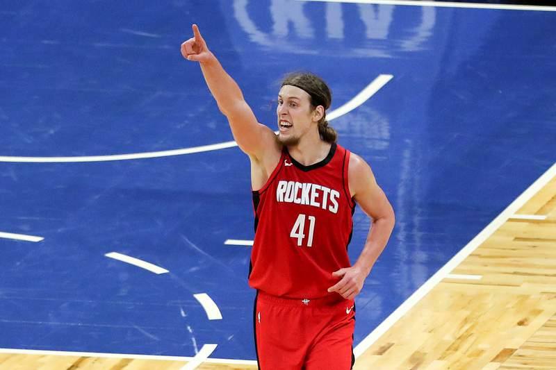 ORLANDO, FL - APRIL 18: Kelly Olynyk #41 of the Houston Rockets demands a ref challenge against the Orlando Magic at Amway Center on April 18, 2021 in Orlando, Florida. NOTE TO USER: User expressly acknowledges and agrees that, by downloading and or using this photograph, User is consenting to the terms and conditions of the Getty Images License Agreement. (Photo by Alex Menendez/Getty Images)