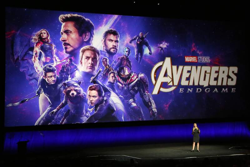 """Walt Disney Studios Motion Pictures President of Walt Disney Distribution Franchise Management, Business & Audience Insights Cathleen Taff talks about the upcoming movie """"Avengers: Endgame"""" during Walt Disney Studios Motion Pictures special presentation during CinemaCon at The Colosseum at Caesars Palace on April 03, 2019 in Las Vegas, Nevada. (Photo by Gabe Ginsberg/WireImage)"""