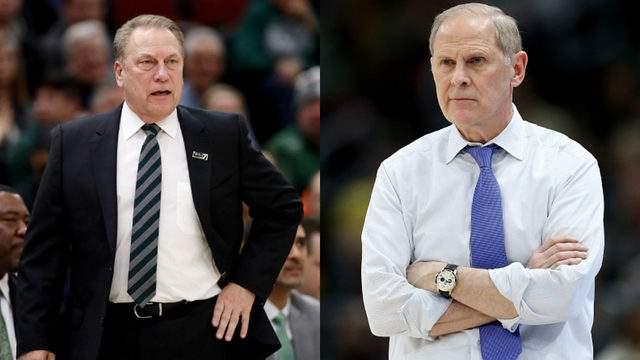 Michigan State basketball coach Tom Izzo (left) and Michigan basketball coach John Beilein (right).