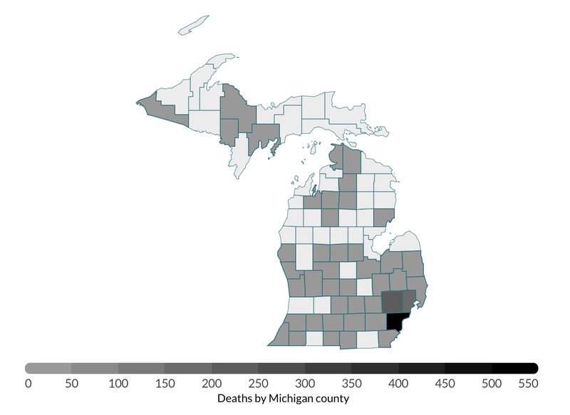 Michigan COVID-19 deaths by county heat map as of April 9, 2020.