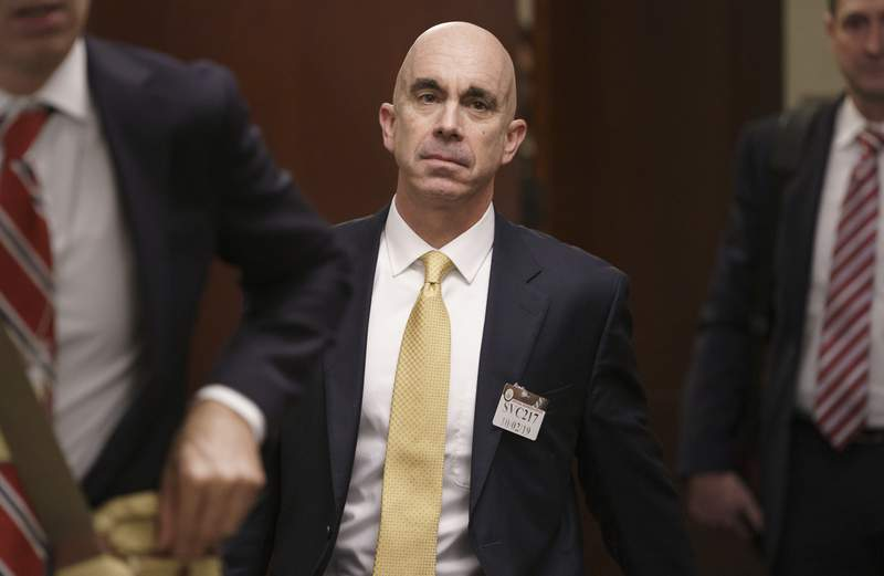 FILE - In this Oct. 2, 2019, file photo State Department Inspector General Steve Linick leaves a meeting in a secure area at the Capitol in Washington. Linick irritated powerful Democrats and Republicans alike in his seven years as the independent watchdog investigating waste and mismanagement at the State Department. Still, he was stunned by a Friday night phone call saying President Donald Trump had fired him. (AP Photo/J. Scott Applewhite, File)