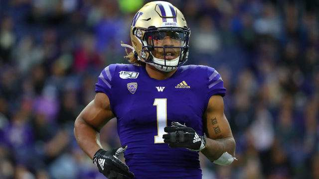 Hunter Bryant #1 of the Washington Huskies looks on against the Hawaii Rainbow Warriors in the fourth quarter during their game at Husky Stadium on September 14, 2019 in Seattle, Washington. (Photo by Abbie Parr/Getty Images)