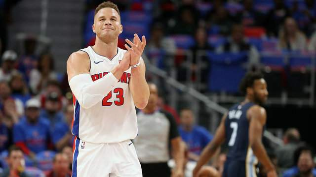 Blake Griffin #23 of the Detroit Pistons celebrates during the fourth quarter of the game against the Memphis Grizzlies at Little Caesars Arena on February 1, 2018 in Detroit, Michigan. Detroit defeated Memphis 104-102. (Photo by Leon Halip/Getty Images)