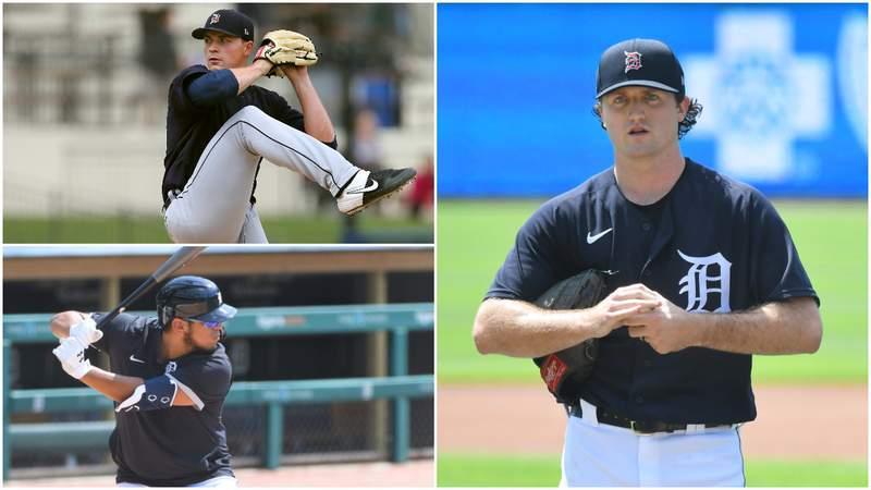 Detroit Tigers prospects Tarik Skubal, Isaac Paredes and Casey Mize.