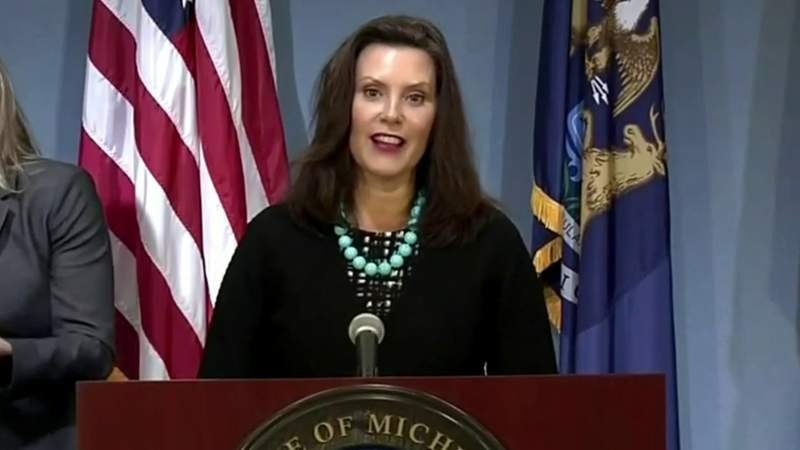 Michigan Gov. Gretchen Whitmer at her Sept. 10, 2020, coronavirus (COVID-19) press briefing.