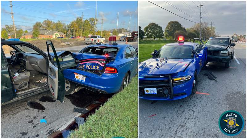 A Michigan State Police vehicle was struck Oct. 13, 2021, near Mound and 17 Mile roads in Sterling Heights.