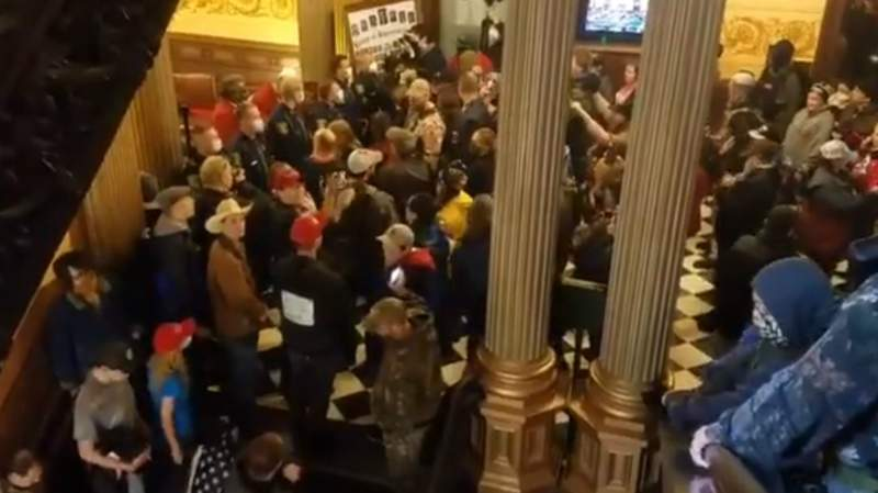 Protesters at the Michigan Capitol on April 30, 2020