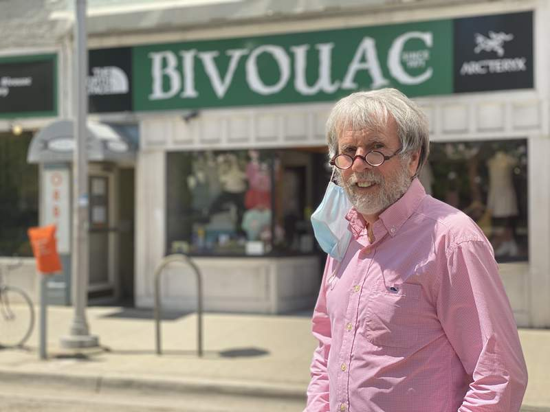 Bivouac owner Ed Davidson opened his store across from U-M's central campus in 1971.