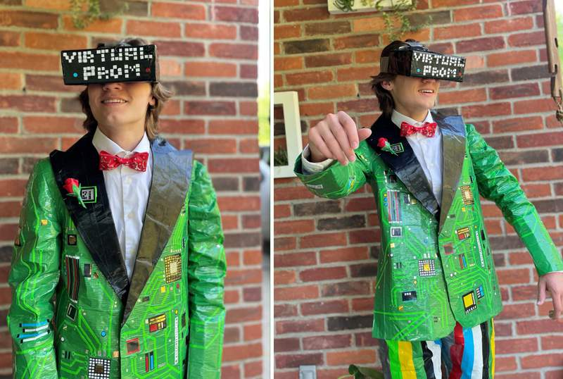 Vaughn Westerman poses in a tuxedo he made entirely out of duct tape.