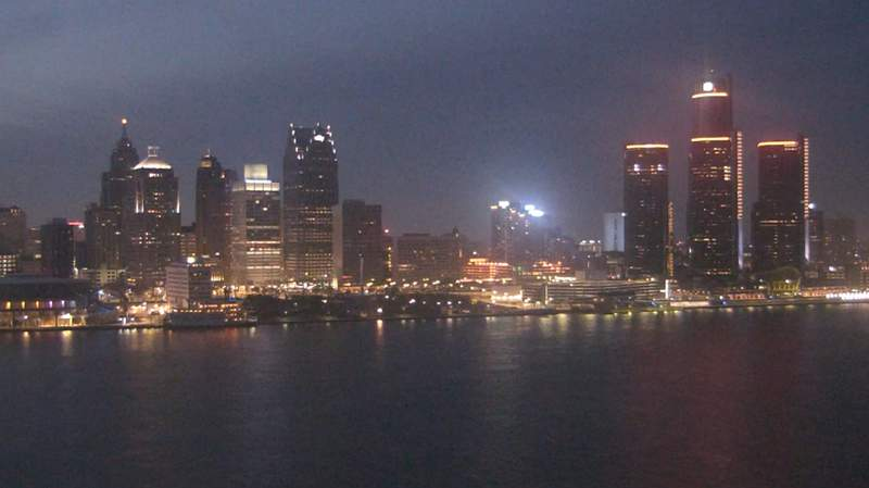 View of Detroit from the Windsor sky camera on March 25, 2020 at 8:22 p.m.