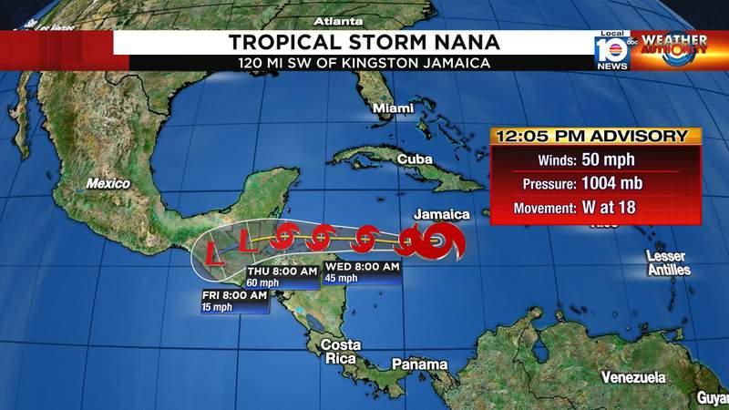 Forecast cone for Tropical Storm Nana.