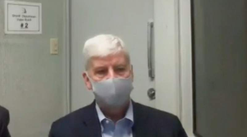 Rick Snyder, former Michigan governor, at his arraignment Jan. 14, 2021.