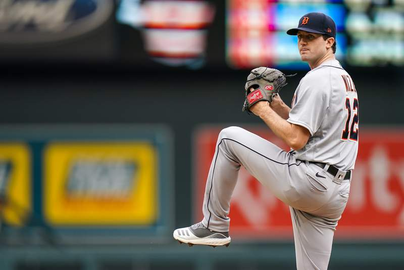 Casey Mize #12 of the Detroit Tigers pitches against the Minnesota Twins on September 6, 2020 at Target Field in Minneapolis, Minnesota.
