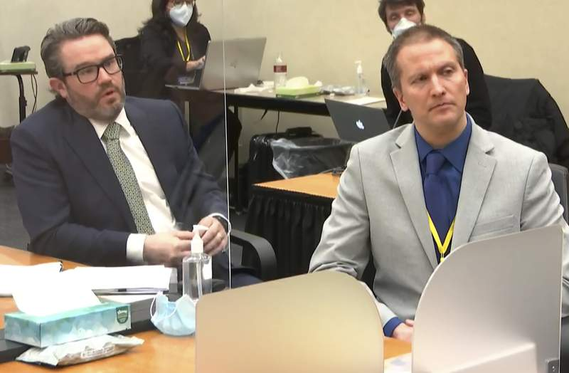In this image from video, defense attorney Eric Nelson, left, and defendant, former Minneapolis police officer Derek Chauvin, speak to Hennepin County Judge PeterCahill after the judge has put the trial into the hands of the jury. Monday, April 19, 2021, in the trial of Chauvin, in the May 25, 2020, death of George Floyd at the Hennepin County Courthouse in Minneapolis, Minn. (Court TV via AP, Pool)
