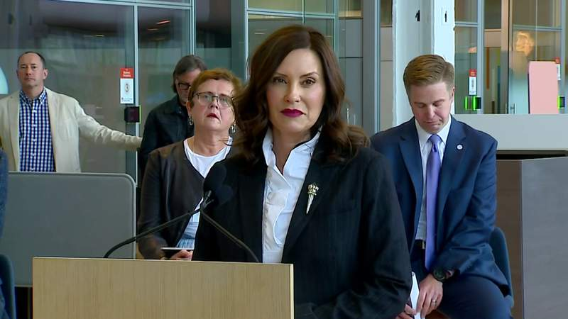 Michigan Gov. Gretchen Whitmer at a May 24, 2021, briefing about employees returning to in-person work.