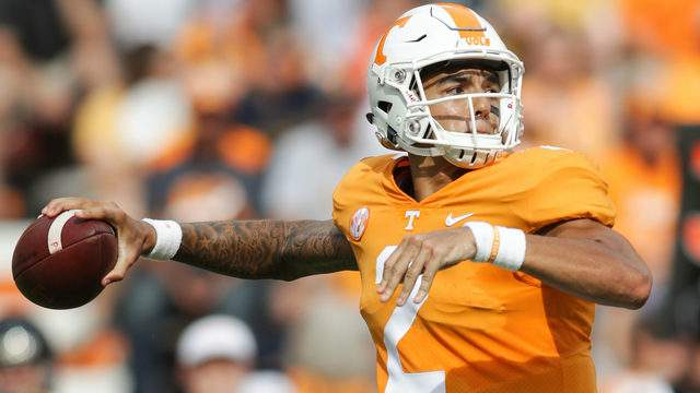 Jarrett Guarantano #2 of the Tennessee Volunteers looks to pass during a game against the East Tennessee State University Buccaneers at Neyland Stadium on September 8, 2018 in Knoxville, Tennessee. Tennesee won the game 59-3. (Photo by Donald Page/Getty Images)