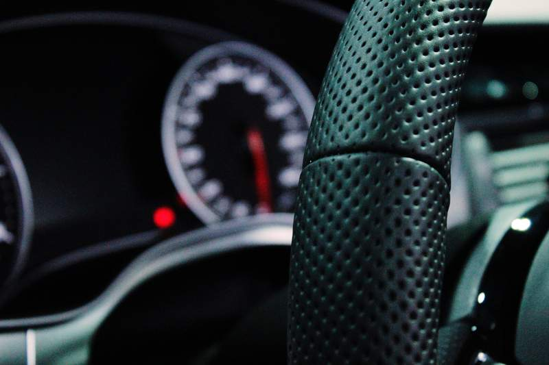 The driver's seat of a car.