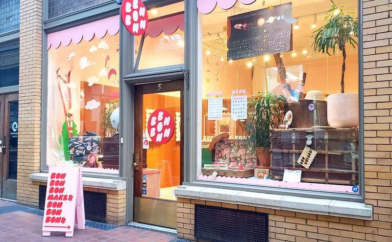 Bon Bon Bon's third brick-and-mortar shop is in the historic Nickels Arcade in Ann Arbor, Michigan.