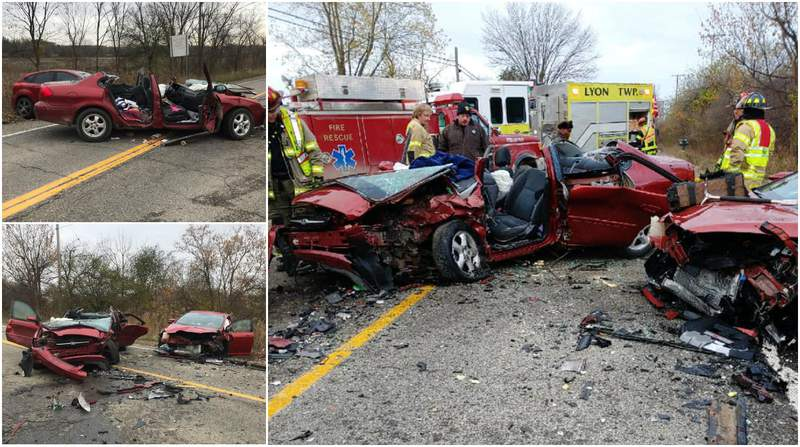 Wreckage from a two-car crash Nov. 6, 2019, in Lyon Township.