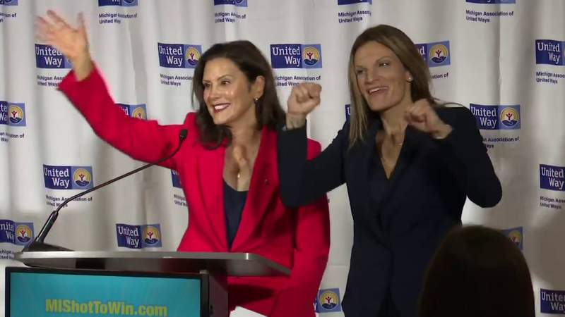 Michigan Gov. Gretchen Whitmer at a July 1, 2021, briefing to officially announce the state's vaccine sweepstakes.