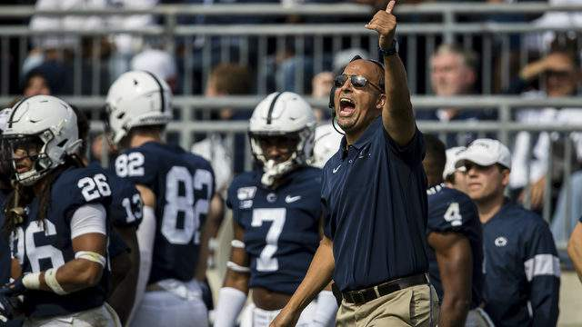 Head coach James Franklin of the Penn State Nittany Lions reacts against the Pittsburgh Panthers during the second half at Beaver Stadium on September 14, 2019 in State College, Pennsylvania. (Photo by Scott Taetsch/Getty Images)