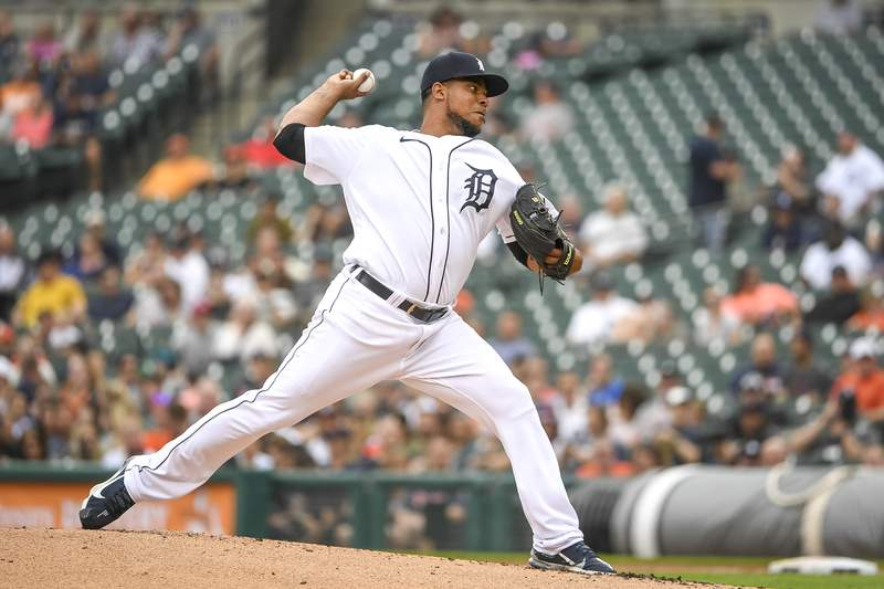 Wily Peralta #58 of the Detroit Tigers delivers a pitch against the Houston Astros during game two of a doubleheader at Comerica Park on June 26, 2021 in Detroit, Michigan.
