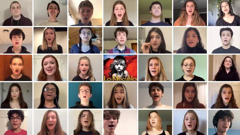 """Members of the cast of Pioneer Theatre Guild's spring production of Les Miserables perform """"One Last Day"""" from their homes."""