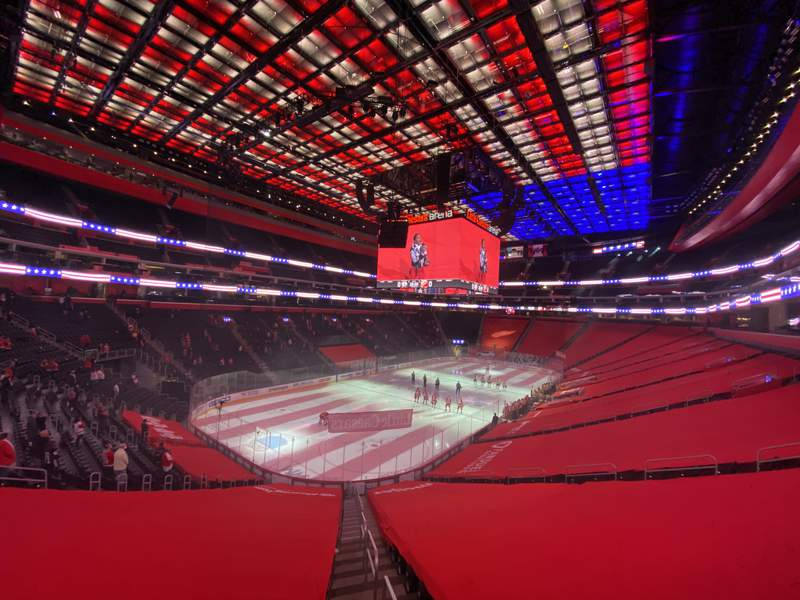 DETROIT, MICHIGAN - FEBRUARY 23: View of Little Caesars Arena during the National Anthem prior to a game between the Nashville Predators and Detroit Red Wings on February 23, 2021 in Detroit, Michigan. (Photo by Gregory Shamus/Getty Images)