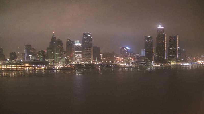 View of Detroit from the Windsor sky camera on Jan. 25, 2020 at 7:11 p.m.