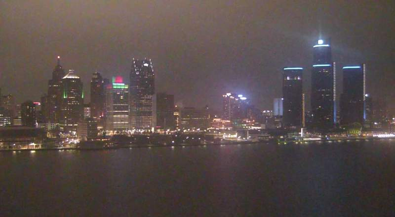 View of Detroit from the Windsor sky camera on Jan. 4, 2021 at 8:57 p.m.