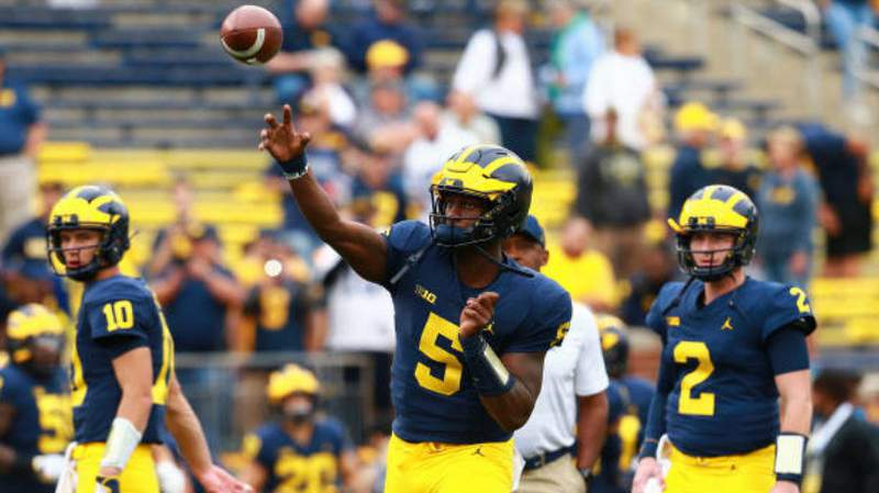 Joe Milton warms up before Michigan's game against Western Michigan at Michigan Stadium on Sept. 8, 2018, in Ann Arbor. (Rey Del Rio/Getty Images)
