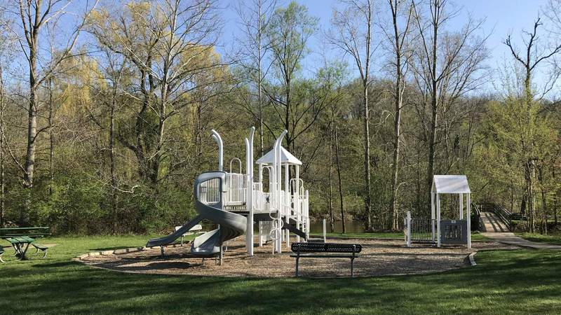 The play structure in Island Park.