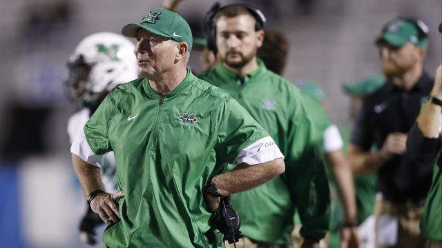 Head coach Doc Holliday of the Marshall Thundering Herd reacts in the third quarter of a game against the Middle Tennessee Blue Raiders at Floyd Stadium on October 20, 2017 in Murfreesboro, Tennessee. (Photo by Joe Robbins/Getty Images)